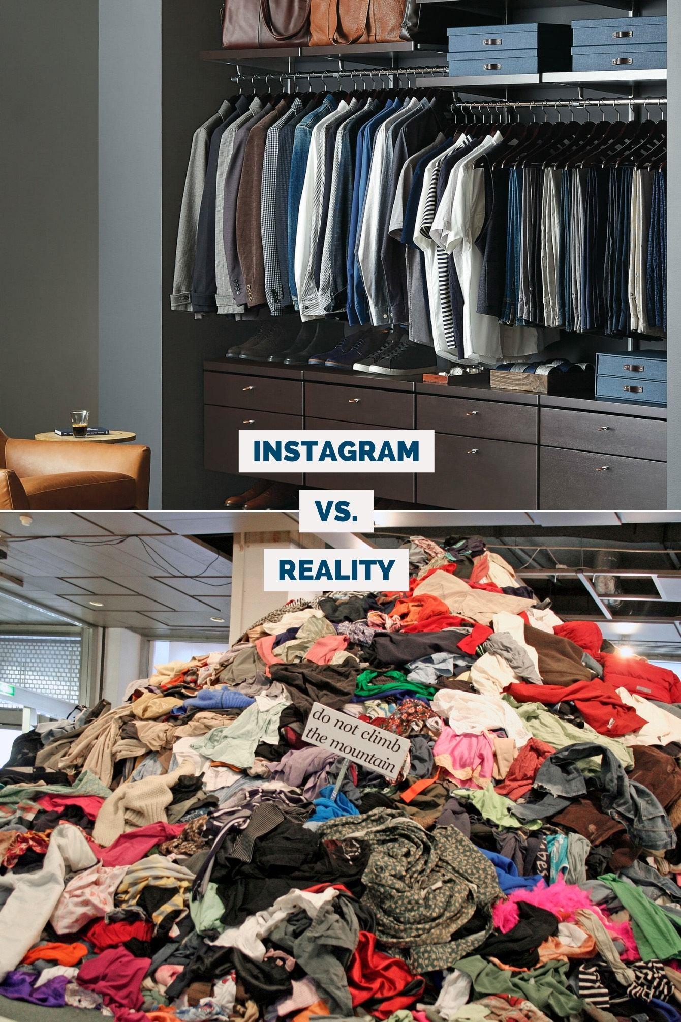 Placard rangé ou pile de vêtements